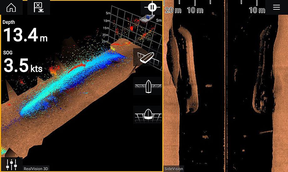 Med 3D kan man fx se dette vrag på Raymarines kortplotter. PR-foto