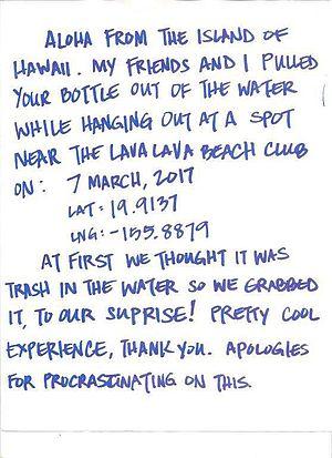 Aloha fra Hawaii ... Bendt B. Jensens flaskepost i whisky-flasken udløste dette brev fra Stillehavsøen Hawaii.