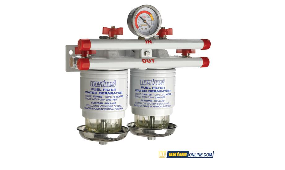 Med VetusOnline dobbeltdieselfilter, kan du skifte fra et filter til et andet uden at stoppe motoren. Foto: VetusOnline.com.
