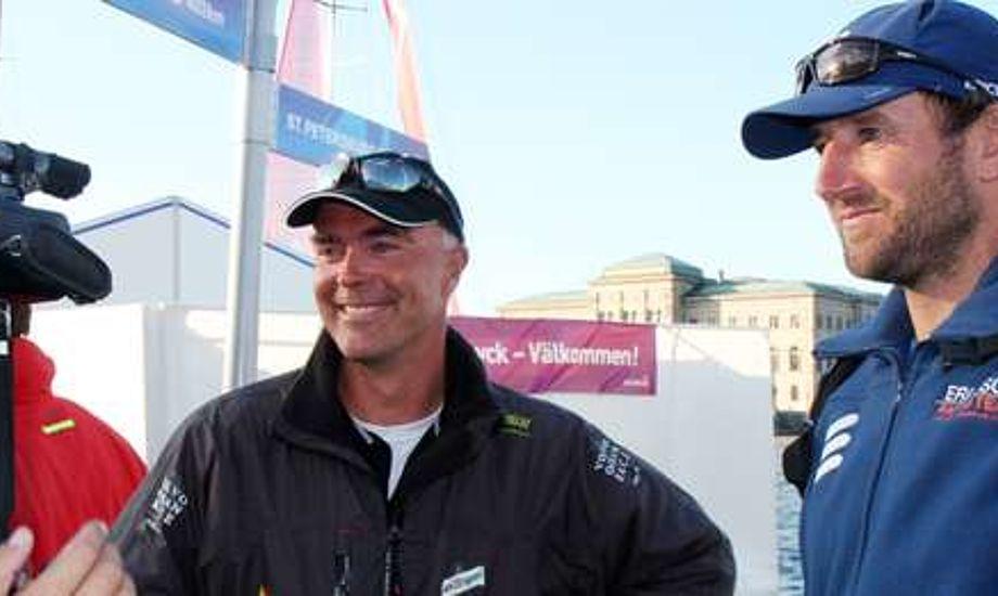 Bouwe Bekking og Jens Dolmer, th., under Volvo Ocean Race