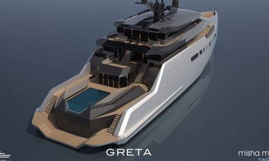 Den største af de to yachter, Trimaran Greta. Foto: PR-foto