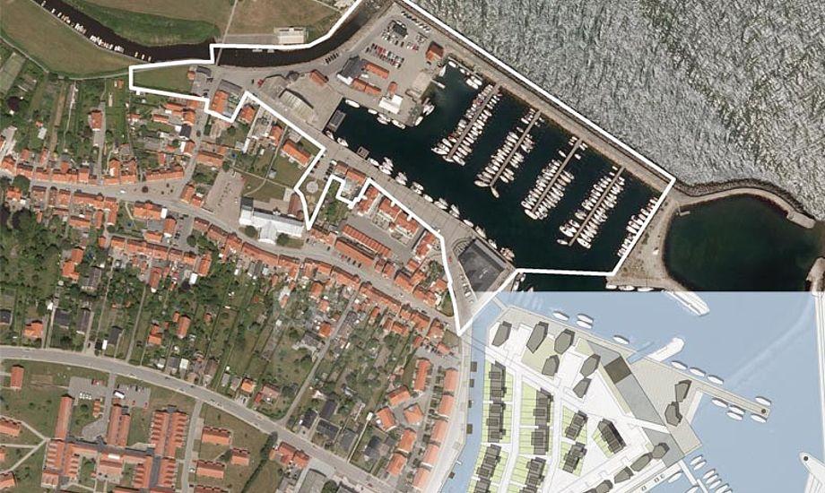 Havneudvidelsen er placeret sydøst for den eksisterende havn. Billede fra kommunens debatfolder.