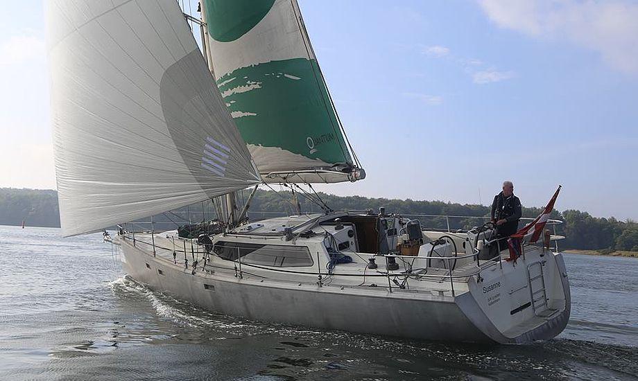 Quantum-sejlmager fra Amager, Jan Hansen, var første båd i mål sidste år i sejladsen rundt om Danmark i sejladsen, han er sponsor for. Foto: Troels Lykke