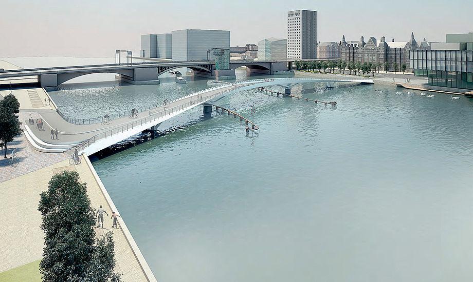 Frihøjden på broen bliver på mindst 5,4 meter. Det betyder, at bl.a. havnebussen kan passere under. Skal større både igennem, åbnes broen ved at dreje to brofag. Tegning: BuroHappold