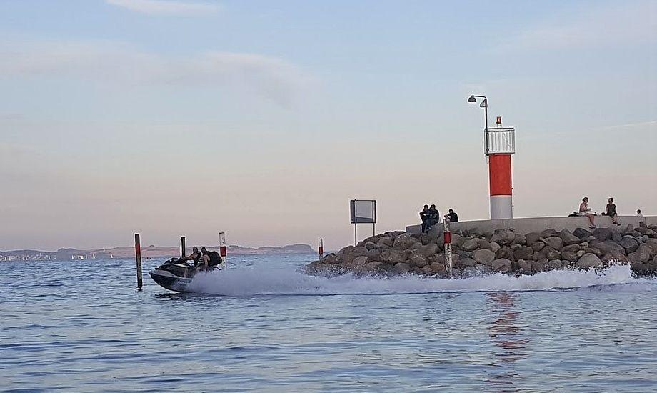 Her ses vandscooter i Aarhus, hvor der også sejles ulovligt. Foto: Troels Lykke