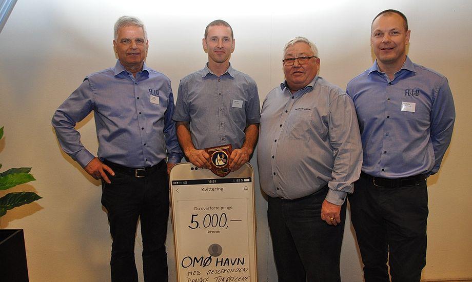 Fra venstre: Søren Hald, formand for FLID, Jesper Hansen, havnemester Omø Havn, Poul Erik Jakobsen, formand for Danske Tursejlere og Jesper Højenvang, direktør for FLID.