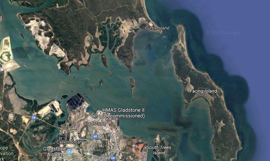Drengen kæmpede for sit liv i farvandet mellem Gladstone, Curtis Island og Facing Island. Grafik: Google Maps