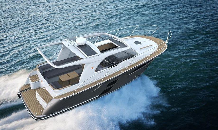 Grønne løsninger er der også blevet plads til med solceller som ekstraudstyr på Marex 310 Sun Cruiser. PR-tegning