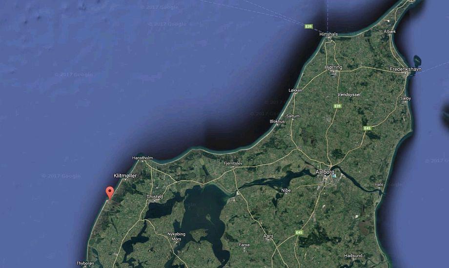 Ulykken fandt i eftermiddag sted i nærheden af Vorupør. Foto: Google Maps