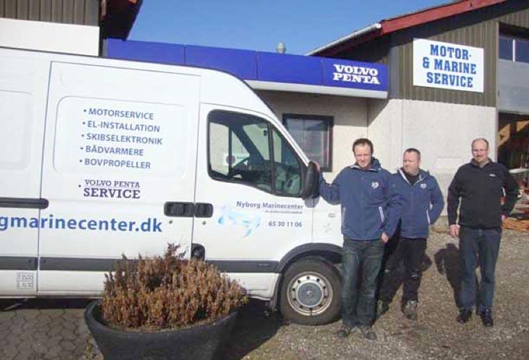 Fra venstre Allan og Jesper Ernstsen fra Nyborg Marinecenter ApS, og Henning Hansen fra BM Marine Service A/S.