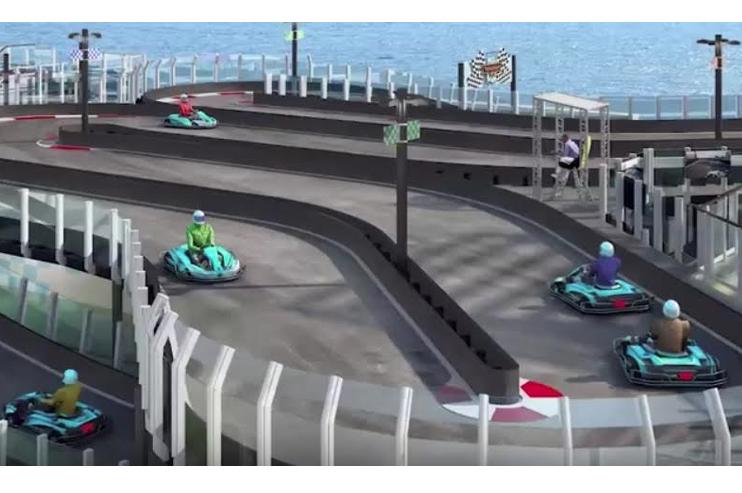 Op til ti gæster kan køre på Norwegian Joy's racerbane. Foto: YouTube