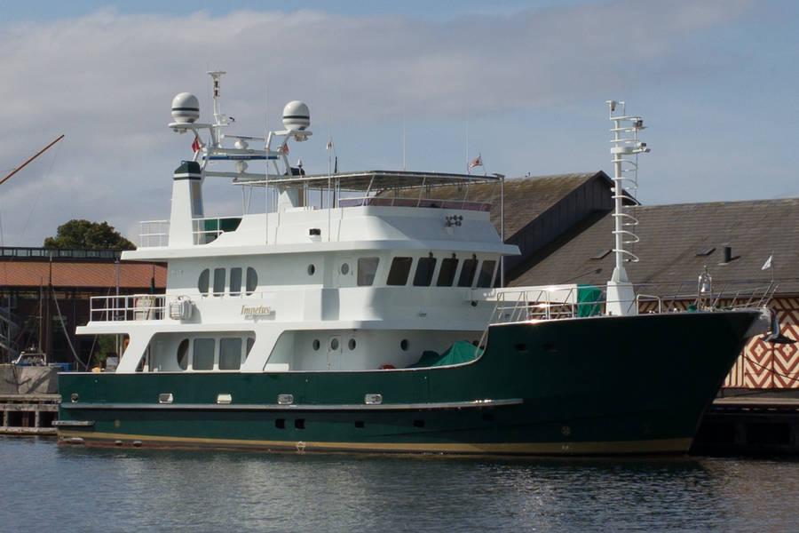 Yachten er i øjeblikket udbudt til salg til en pris, der i amerikanske dollars svarer til næsten 40 mio. danske kroner. Foto: Søren Stidsholt Nielsen, Fyns Amts Avis, Søsiden